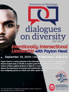 Photo of Payton Head's poster which details the time, date, location, and topic of his keynote speaking event.