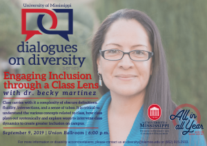 Photo of dr. becky martinez's poster which details the time, date, location, and purpose of her keynote speaking event.