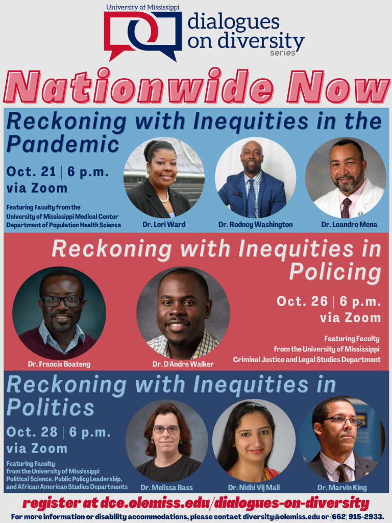 Online poster advertising the dates, times, topics, and speakers of each Dialogues on Diversity event for the fall 2020 semester